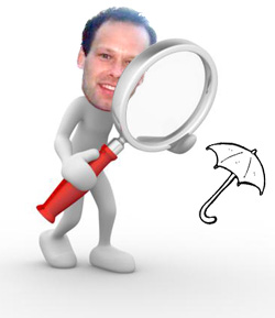 Botting with umbrella and magnifier