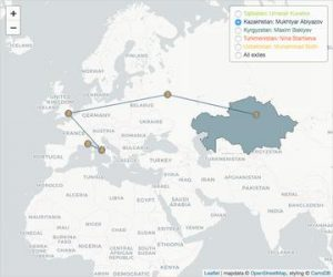 Route of a Kazakhstani exile via Moscow, London and Rome to Nice (FR).