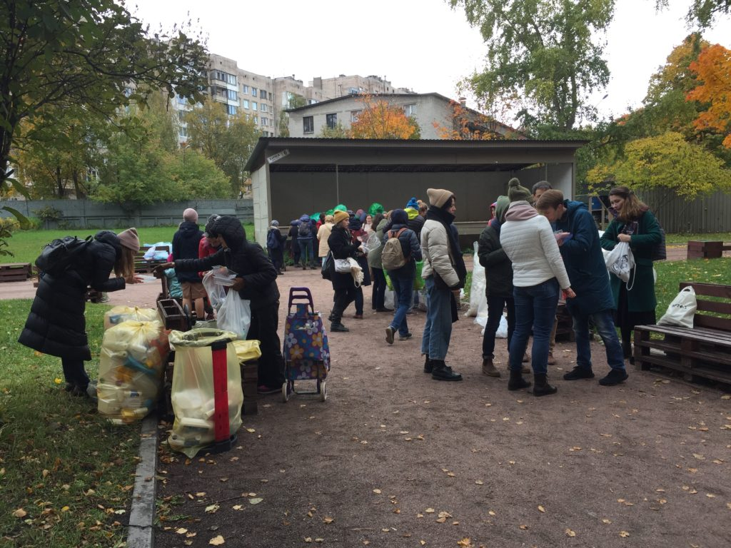 Text Box: Figure 2: Volunteers and residents gather to collect recyclable waste in St Petersburg